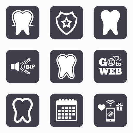 stomatologist: Mobile payments, wifi and calendar icons. Tooth enamel protection icons. Dental toothpaste care signs. Healthy teeth sign. Go to web symbol. Illustration