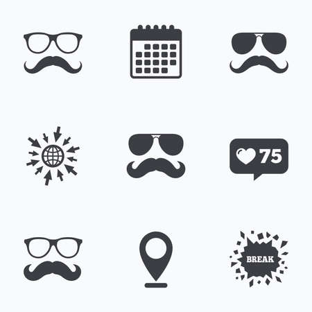 facial hair: Calendar, like counter and go to web icons. Mustache and Glasses icons. Hipster symbols. Facial hair signs. Location pointer.