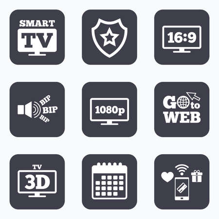 3d mode: Mobile payments, wifi and calendar icons. Smart TV mode icon. Aspect ratio 16:9 widescreen symbol. Full hd 1080p resolution. 3D Television sign. Go to web symbol.