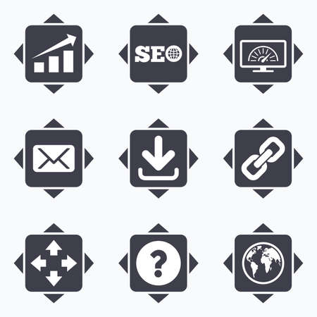 bandwidth: Icons with direction arrows. Internet, seo icons. Bandwidth speed, download arrow and mail signs. Hyperlink, monitoring symbols. Square buttons.