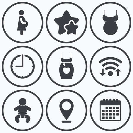 big timer: Clock, wifi and stars icons. Maternity icons. Baby infant, pregnancy and shirt signs. Dress with heart symbol. Calendar symbol. Illustration