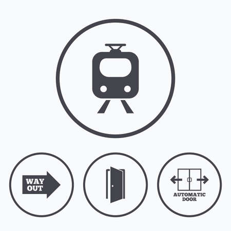 way out: Train railway icon. Automatic door symbol. Way out arrow sign. Icons in circles.