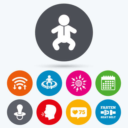 baby toilet seat: Wifi, like counter and calendar icons. Baby infants icons. Toddler boy with diapers symbol. Fasten seat belt signs. Child pacifier and pram stroller. Human talk, go to web.