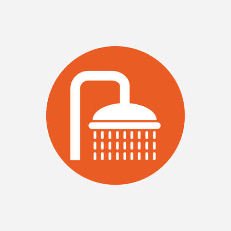 douche: Shower sign icon. Douche with water drops symbol. Orange circle button with icon. Vector