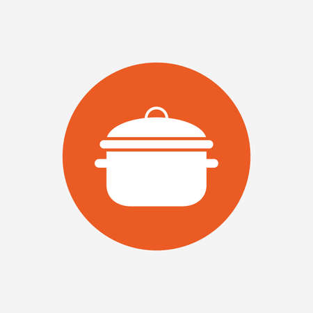 stew pan: Cooking pan sign icon. Boil or stew food symbol. Orange circle button with icon. Vector