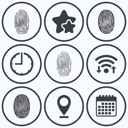 dabs: Clock, wifi and stars icons. Fingerprint icons. Identification or authentication symbols. Biometric human dabs signs. Calendar symbol. Illustration