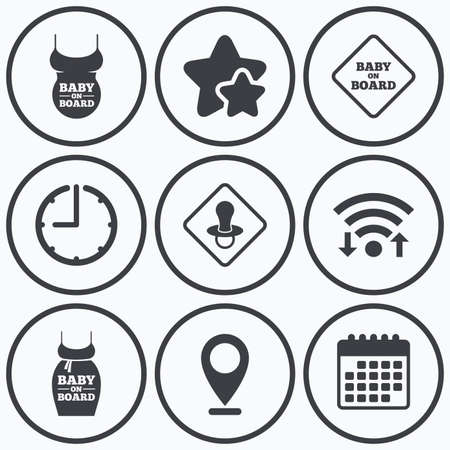 big belly: Clock, wifi and stars icons. Baby on board icons. Infant caution signs. Child pacifier nipple. Pregnant woman dress with big belly. Calendar symbol. Illustration