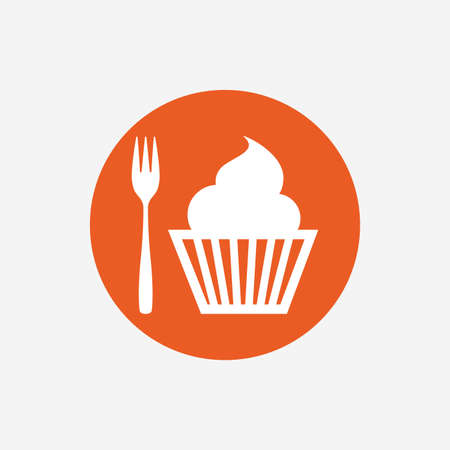 trident: Eat sign icon. Dessert trident fork with muffin. Cutlery symbol. Orange circle button with icon. Vector