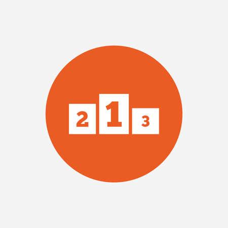 awarding: Winners podium sign icon. Awarding of winners symbol. Orange circle button with icon. Vector Illustration