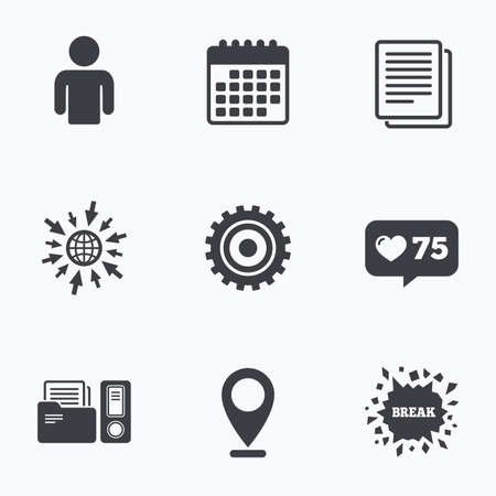 auditing: Calendar, like counter and go to web icons. Accounting workflow icons. Human silhouette, cogwheel gear and documents folders signs symbols. Location pointer.