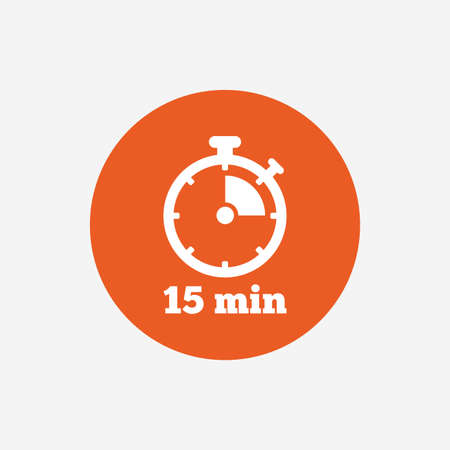 min: Timer sign icon. 15 minutes stopwatch symbol. Orange circle button with icon. Vector Illustration