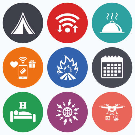 breakfast in bed: Wifi, mobile payments and drones icons. Hot food, sleep, camping tent and fire icons. Hotel or bed and breakfast. Road signs. Calendar symbol.