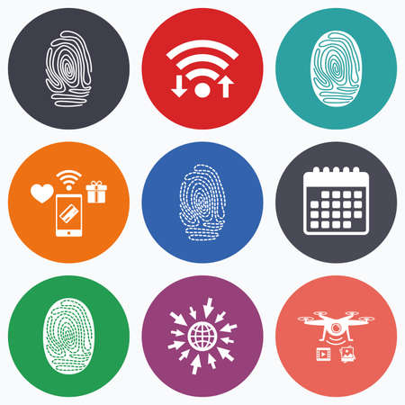 dabs: Wifi, mobile payments and drones icons. Fingerprint icons. Identification or authentication symbols. Biometric human dabs signs. Calendar symbol.