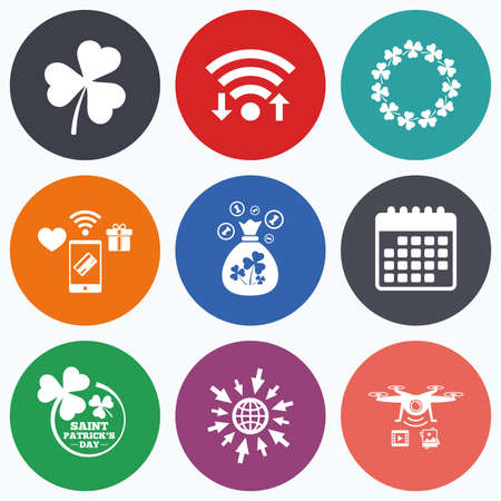 feast of saint patrick: Wifi, mobile payments and drones icons. Saint Patrick day icons. Money bag with clover sign. Wreath of trefoil shamrock clovers. Symbol of good luck. Calendar symbol. Illustration