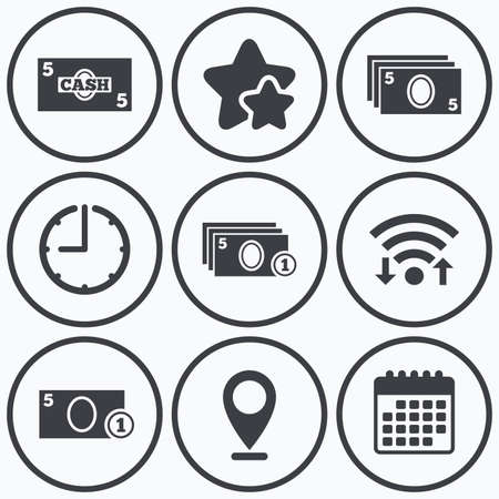withdrawals: Clock, wifi and stars icons. Businessman case icons. Currency with coins sign symbols. Calendar symbol.