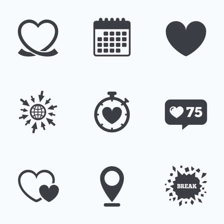 palpitation: Calendar, like counter and go to web icons. Heart ribbon icon. Timer stopwatch symbol. Love and Heartbeat palpitation signs. Location pointer.