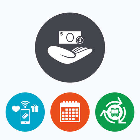 endowment: Donation hand sign icon. Hand holds cash. Charity or endowment symbol. Human helping hand palm. Mobile payments, calendar and wifi icons. Bus shuttle. Illustration