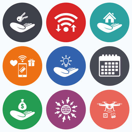 patent key: Wifi, mobile payments and drones icons. Helping hands icons. Financial money savings insurance symbol. Home house or real estate and lamp, key signs. Calendar symbol.