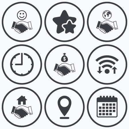 amicable: Clock, wifi and stars icons. Handshake icons. World, Smile happy face and house building symbol. Dollar cash money bag. Amicable agreement. Calendar symbol. Illustration