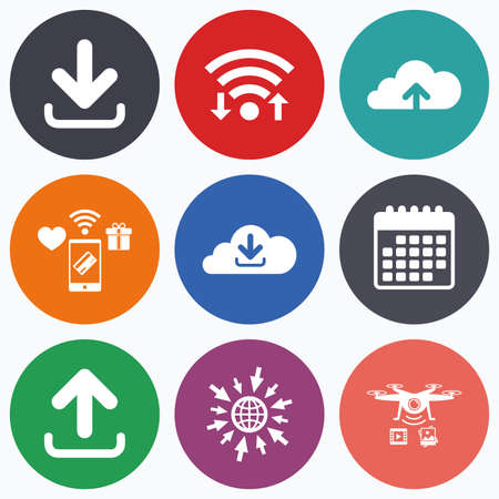 ftp servers: Wifi, mobile payments and drones icons. Download now icon. Upload from cloud symbols. Receive data from a remote storage signs. Calendar symbol.
