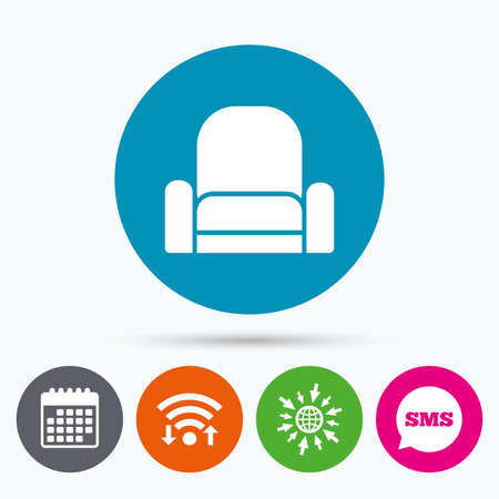 modern furniture: Wifi, Sms and calendar icons. Armchair sign icon. Modern furniture symbol. Go to web globe. Illustration