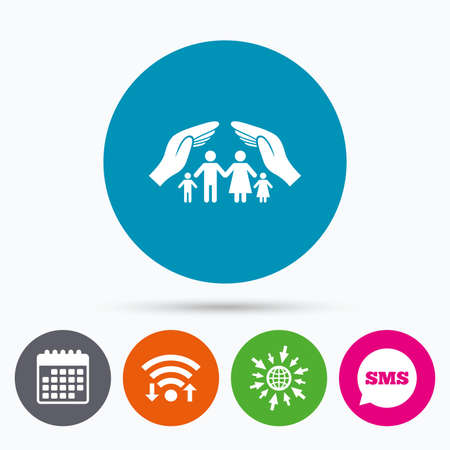 protect globe: Wifi, Sms and calendar icons. Family life insurance sign icon. Hands protect human group symbol. Health insurance. Go to web globe.