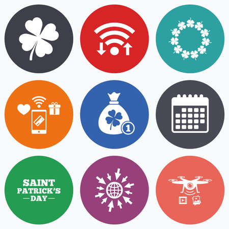 quatrefoil: Wifi, mobile payments and drones icons. Saint Patrick day icons. Money bag with coin and clover sign. Wreath of quatrefoil clovers. Symbol of good luck. Calendar symbol. Illustration