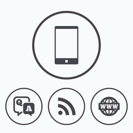 qa: Question answer icon.  Smartphone and Q&A chat speech bubble symbols. RSS feed and internet globe signs. Communication Icons in circles. Illustration