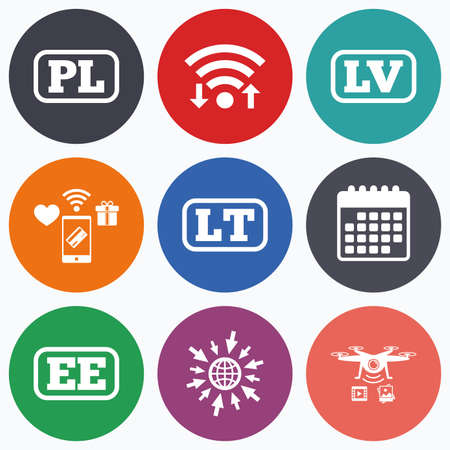 lt: Wifi, mobile payments and drones icons. Language icons. PL, LV, LT and EE translation symbols. Poland, Latvia, Lithuania and Estonia languages. Calendar symbol.