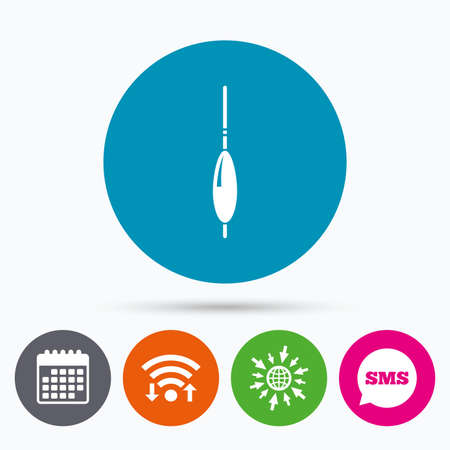 bobber: Wifi, Sms and calendar icons. Fishing sign icon. Float bobber symbol. Fishing tackle. Go to web globe.