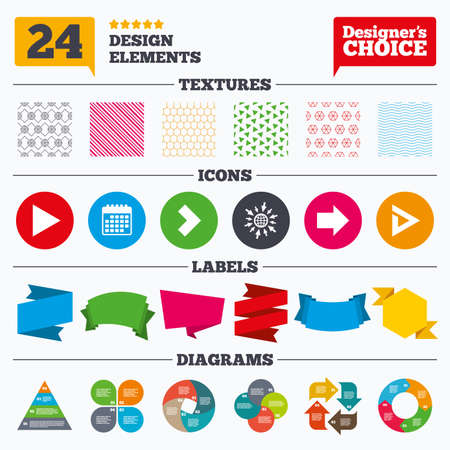 graphical chart: Banner tags, stickers and chart graph. Arrow icons. Next navigation arrowhead signs. Direction symbols. Linear patterns and textures.