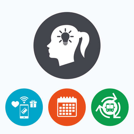 pigtail: Head with lamp bulb sign icon. Female woman human head idea with pigtail symbol. Mobile payments, calendar and wifi icons. Bus shuttle.