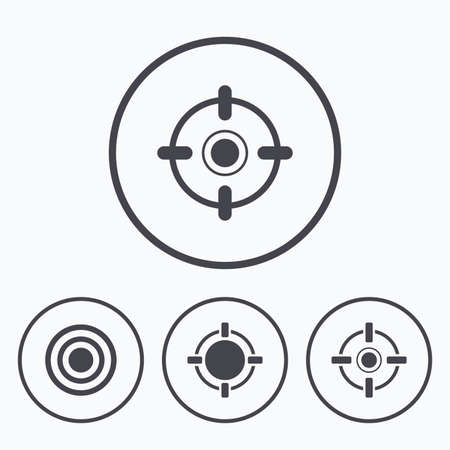 sniper training: Crosshair icons. Target aim signs symbols. Weapon gun sights for shooting range. Icons in circles.