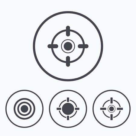range: Crosshair icons. Target aim signs symbols. Weapon gun sights for shooting range. Icons in circles.