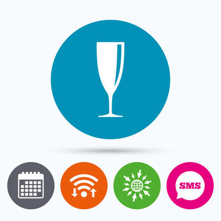 banquet: Wifi, Sms and calendar icons. Glass of champagne sign icon. Sparkling wine. Celebration or banquet alcohol drink symbol. Go to web globe.