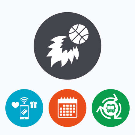 fireball: Basketball fireball sign icon. Sport symbol. Mobile payments, calendar and wifi icons. Bus shuttle.
