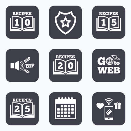 15 20: Mobile payments, wifi and calendar icons. Cookbook icons. 10, 15, 20 and 25 recipes book sign symbols. Go to web symbol.