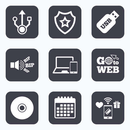 device disc: Mobile payments, wifi and calendar icons. Usb flash drive icons. Notebook or Laptop pc symbols. Smartphone device. CD or DVD sign. Compact disc. Go to web symbol.