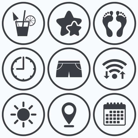 swimming trunks: Clock, wifi and stars icons. Beach holidays icons. Cocktail, human footprints and swimming trunks signs. Summer sun symbol. Calendar symbol.