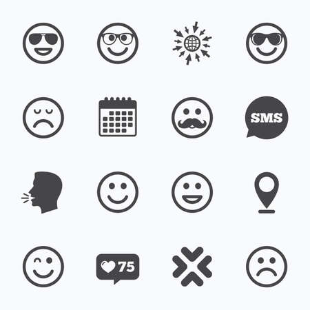 sorrowful: Calendar, go to web and like counter. Smile icons. Happy, sad and wink faces signs. Sunglasses, mustache and laughing lol smiley symbols. Sms speech bubble, talk symbols.