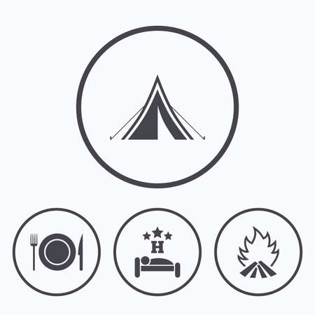 breakfast in bed: Food, sleep, camping tent and fire icons. Knife, fork and dish. Hotel or bed and breakfast. Road signs. Icons in circles.