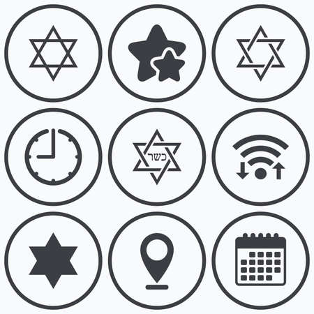 hannukah: Clock, wifi and stars icons. Star of David sign icons. Symbol of Israel. Calendar symbol.