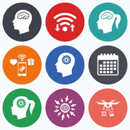 pigtail: Wifi, mobile payments and drones icons. Head with brain icon. Male and female human think symbols. Cogwheel gears signs. Woman with pigtail. Calendar symbol. Illustration