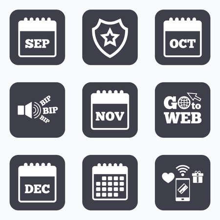 sep: Mobile payments, wifi and calendar icons. Calendar icons. September, November, October and December month symbols. Date or event reminder sign. Go to web symbol. Illustration
