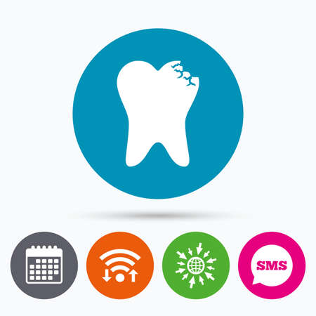 oral communication: Wifi, Sms and calendar icons. Broken tooth icon. Dental care sign symbol. Go to web globe. Illustration