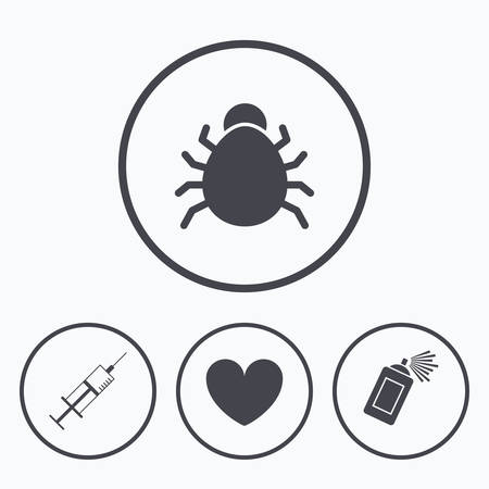 syringe injection: Bug and vaccine syringe injection icons. Heart and spray can sign symbols. Icons in circles.