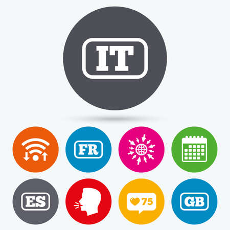 like it: Wifi, like counter and calendar icons. Language icons. IT, ES, FR and GB translation symbols. Italy, Spain, France and England languages. Human talk, go to web.