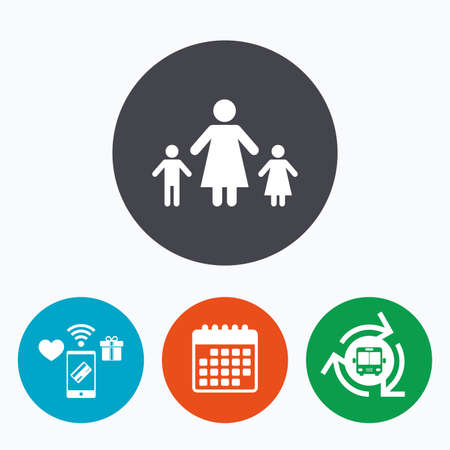 family with two children: One-parent family with two children sign icon. Mother with son and daughter symbol. Mobile payments, calendar and wifi icons. Bus shuttle. Illustration