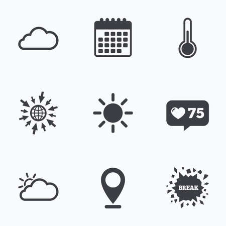 hotness: Calendar, like counter and go to web icons. Weather icons. Cloud and sun signs. Thermometer temperature symbol. Location pointer. Illustration