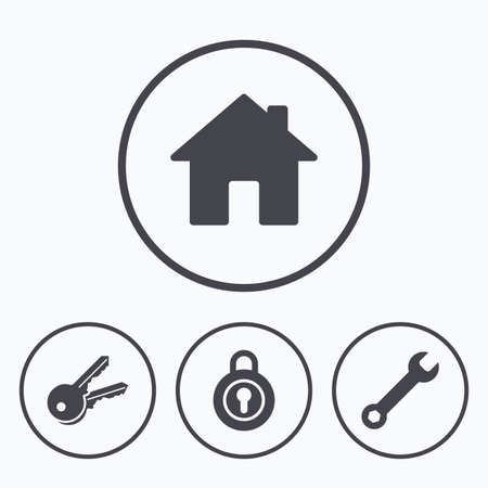 main: Home key icon. Wrench service tool symbol. Locker sign. Main page web navigation. Icons in circles. Illustration